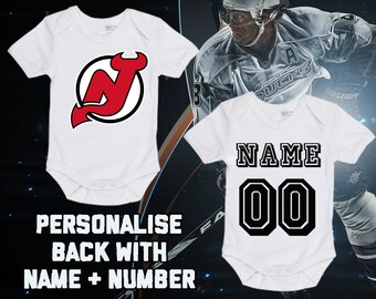 1002cf91 NHL New Jersey Devils Personalised BabyGrow Onezie Bodysuit Vest Onepiece  Customised Baby Boy Girl Gift SUBLIMATION INK Hockey