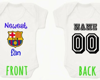 Newest Barcelona Fan Personalised BabyGrow Onezie Bodysuit Vest Onepiece  Customised Baby Boy Girl Gift Football Soccer 1155abb44
