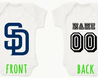0a3aee6b MLB San Diego Padres Personalised BabyGrow Onezie Bodysuit Vest Onepiece  Customised Baby Boy Girl Gift SUBLIMATION INK