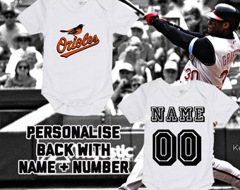 0791e815378 MLB Baltimore Orioles Personalised BabyGrow Onezie Bodysuit Vest Onepiece  Customised Baby Boy Girl Gift SUBLIMATION INK Baseball