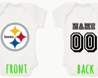 e378cec56 NFL Pittsburgh Steelers Personalised BabyGrow Onezie Bodysuit Vest Onepiece  Customised Baby Boy Girl Gift SUBLIMATION INK
