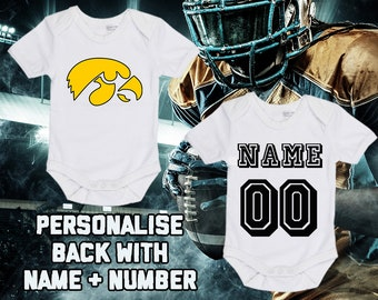 e0b812459ef NCAAF Iowa Hawkeyes College Football Personalised BabyGrow Bodysuit Vest  Onepiece Customised Baby Boy Girl Gift SUBLIMATION