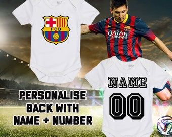 60c8cdba2a0 LaLiga FC Barcelona Personalised BabyGrow Bodysuit Vest Onepiece Customised  Baby Boy Girl Gift SUBLIMATION INK Football Soccer