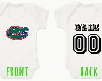 5d433acd1 NCAAF Florida Gators Football Personalised BabyGrow Onezie Bodysuit Vest  Onepiece Customised Baby Boy Girl Gift SUBLIMATION INK