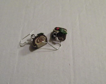 Dangle earrings - Christmas log
