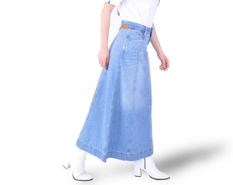 fdb9e12397ab Light Wash Gored Denim Maxi Skirt Long full Length for Modest Women Skirt  Pockets Blue Cotton Summer Spring Fall