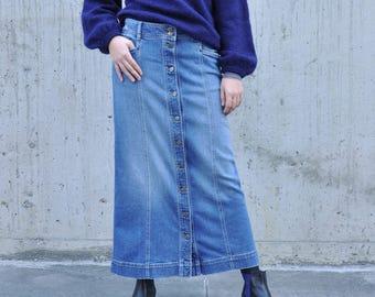 81783b1977 Rosaro Medium Wash Buttoned Denim Maxi Skirt Long Soft Stretching Comfy Full  Length Modest Skirt with Pockets Blue Fall