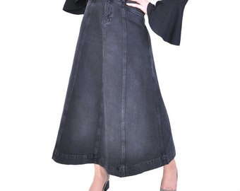 6d176a4e8d Gray Gored Denim Maxi Skirt Soft Long full Length Modest Skirt with Pockets  Gray Cotton Fall