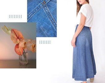 edee4db2ca Organic Medium Wash Denim Maxi Gored Skirt Long full Length Modest Skirt  with Pockets Blue Cotton Summer Spring Fall