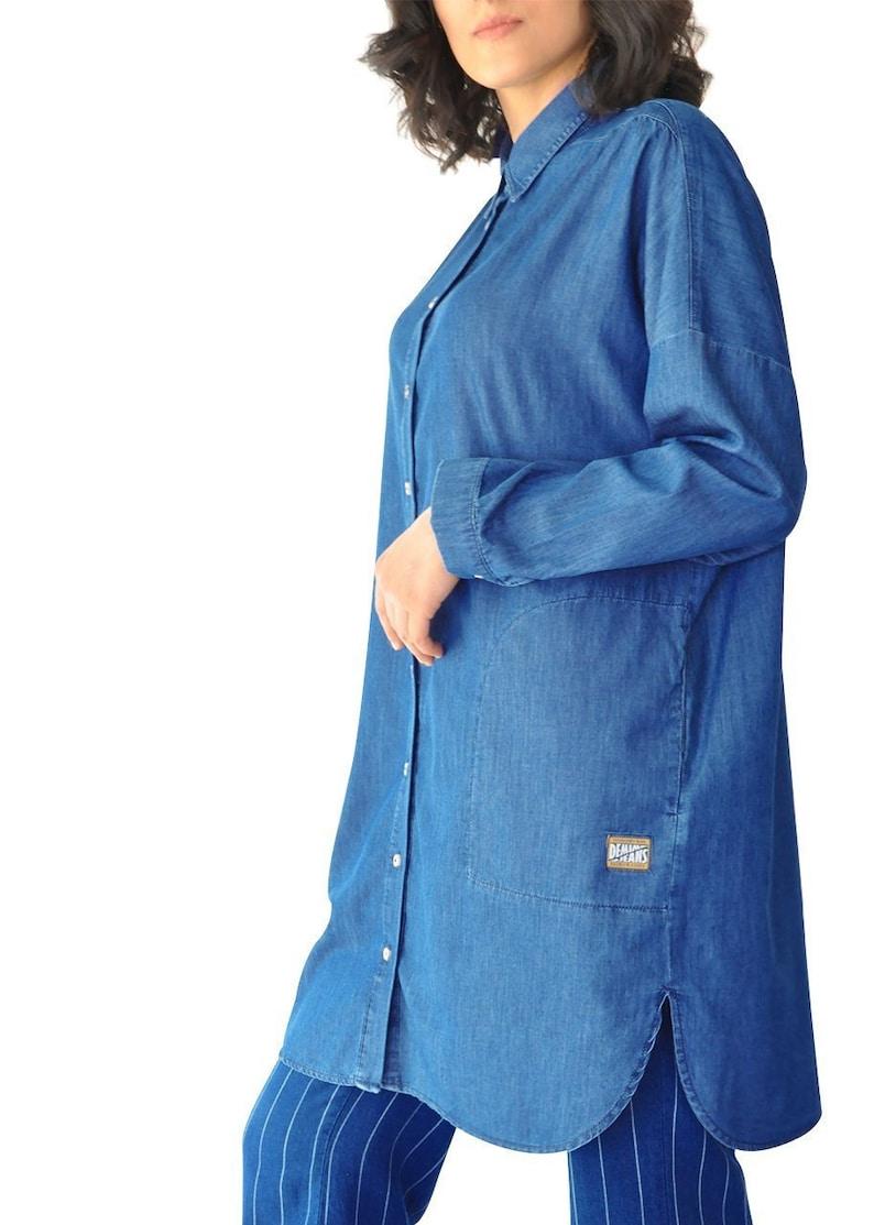 Sion Twill Oversized Loose Tunic Long Sleeve Spring Summer Lightweight Denim Blue Pocket