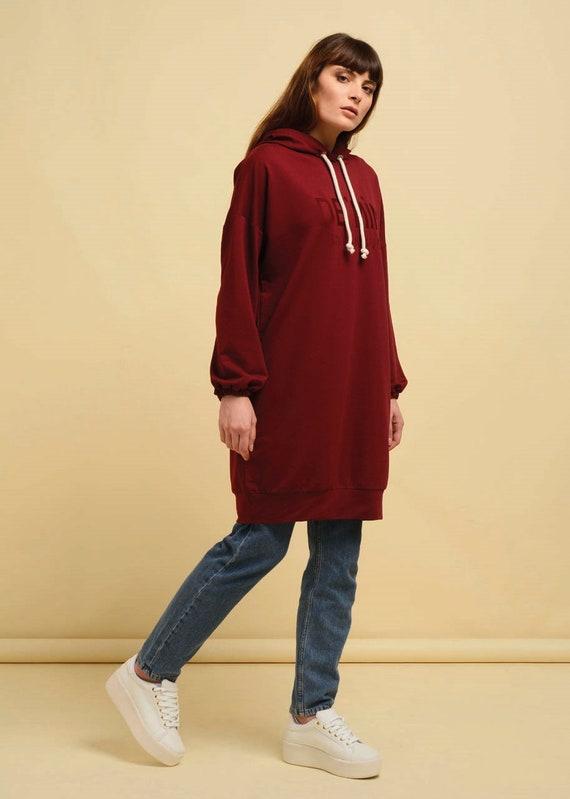 Long Sweatshirt dress Hi Low HiLo Tunic Cotton Long Sleeve Modest Sportswear Denim Pocket