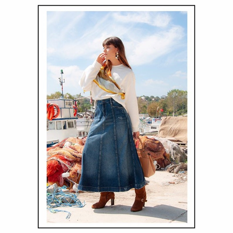 b463d6fb53f48 Toscana Gored Denim Maxi Lightweight Skirt Soft Long full | Etsy