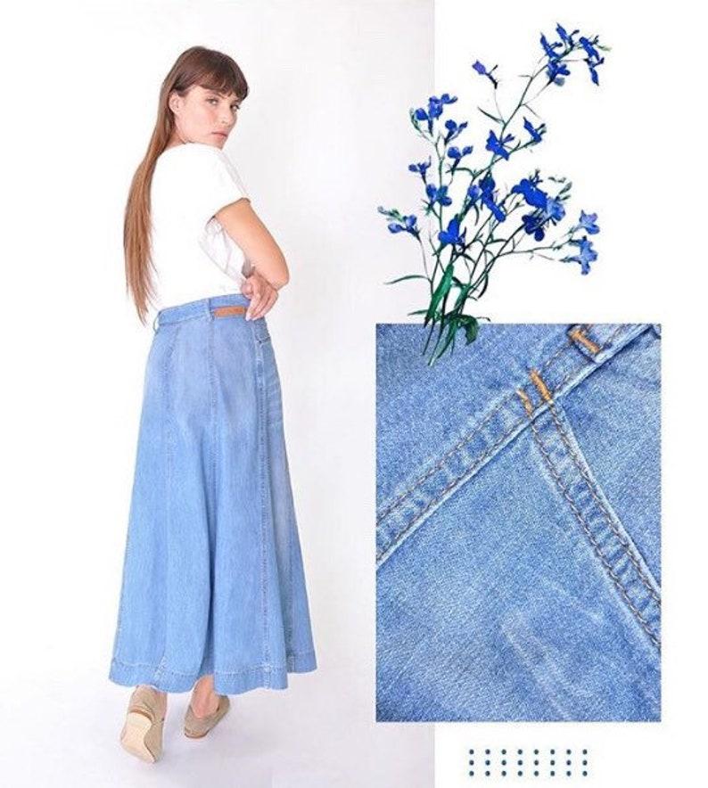 26e72174819c5 Organic Light Wash Gored Denim Maxi Skirt Long full Length | Etsy