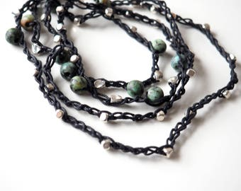 Crocheted waxed linen wrap bracelet/necklace with African Turquoise and silver-plated beads.