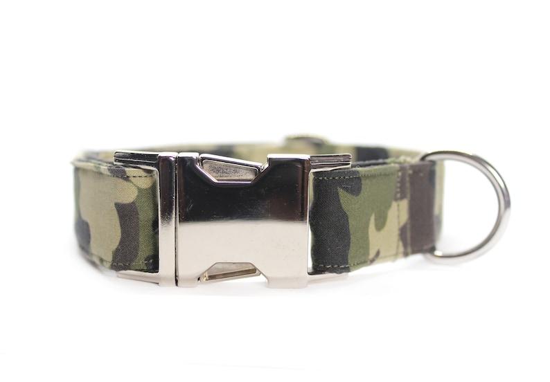 Green Army Camo Dog Collar Hunting Dog Collar Dog Dad Gift image 0
