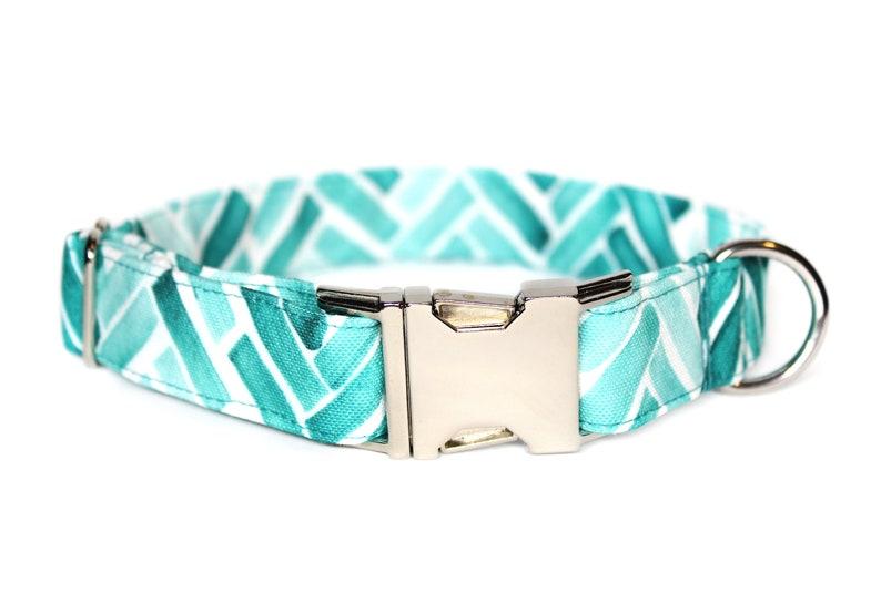 Blue Herringbone CANVAS Dog Collar Waterproof Collar Dog Mom image 0