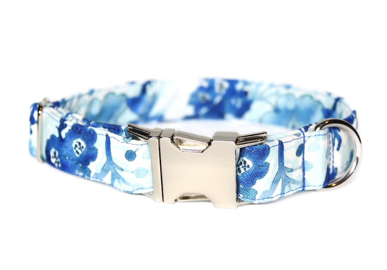 Watercolor Flowers CANVAS Dog Collar Waterproof Collar Dog image 0