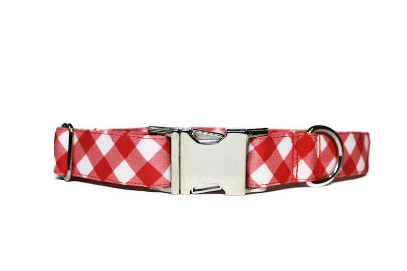 Red Picnic Blanket Dog Collar Summer Dog Collar Plaid Dog image 0