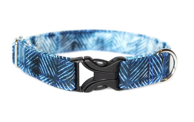Blue Geometric CANVAS Dog Collar Waterproof Collar Dog Mom image 0