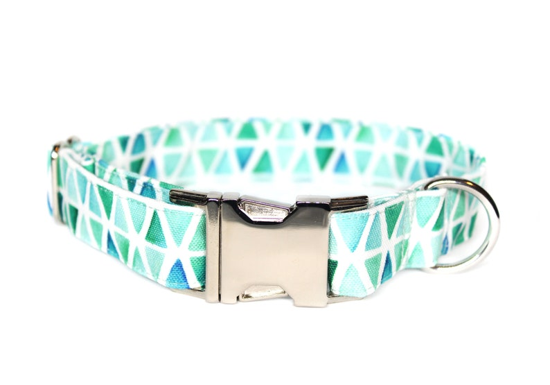 Watercolor Triangle CANVAS Dog Collar Waterproof Collar Dog image 0