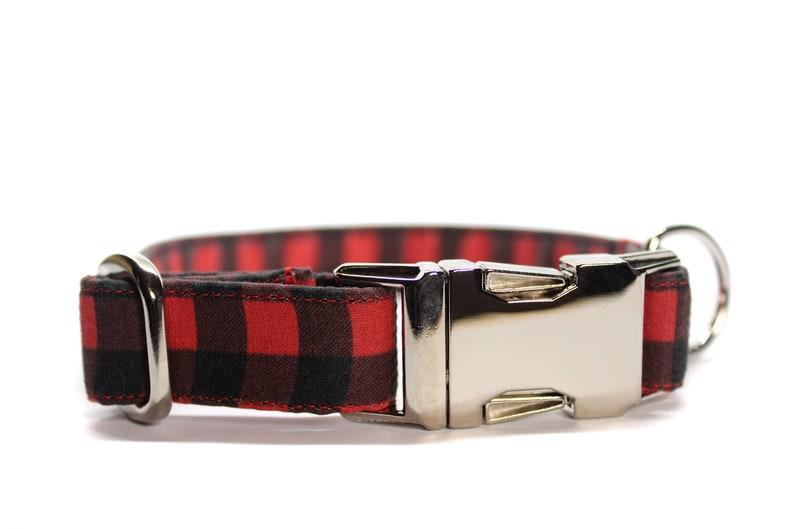 Red Buffalo Plaid Dog Collar Fall Dog Collar Dog Mom Gift image 0