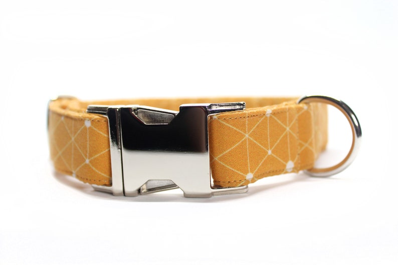 Orange Geometric Dog Collar Fall Dog Collar Dog Mom Gift image 0