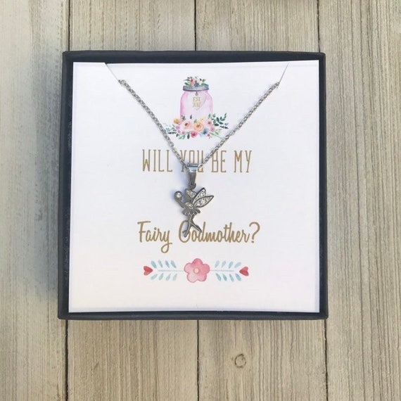 Silver Fairy Godmother Charm Necklace Will You Be My Godmother Ask Godparent Request Jewelry Gift Godmother Proposal Gift