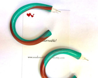 Midi marbled Hoop earrings -  Teal and copper - Polymer Clay