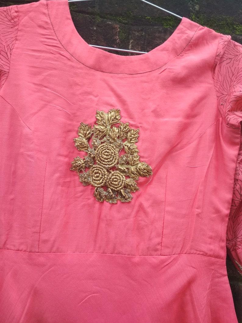 Long dress Cotton silk kurti Frock style kurti Handmade kurti Indian kurti Kurta,Traditional indian wear kurti,3-4th sleeves kurti