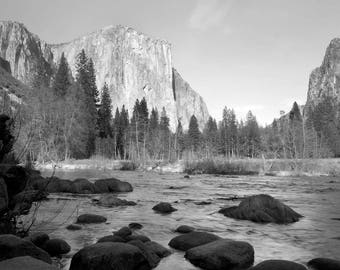 El Capitan with River-Black and white landscape photograph Yosemite National Park unique picture Valentine's Day gift