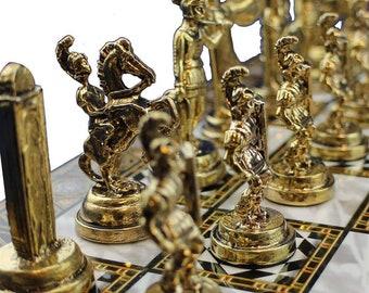 Marble / Mosaic / Walnut Pattern Chess Board and Metal Figures Chess Set (8, 10, 12, 15, 17 Inch) Greek, Roman, British, Egyptian Chessmen