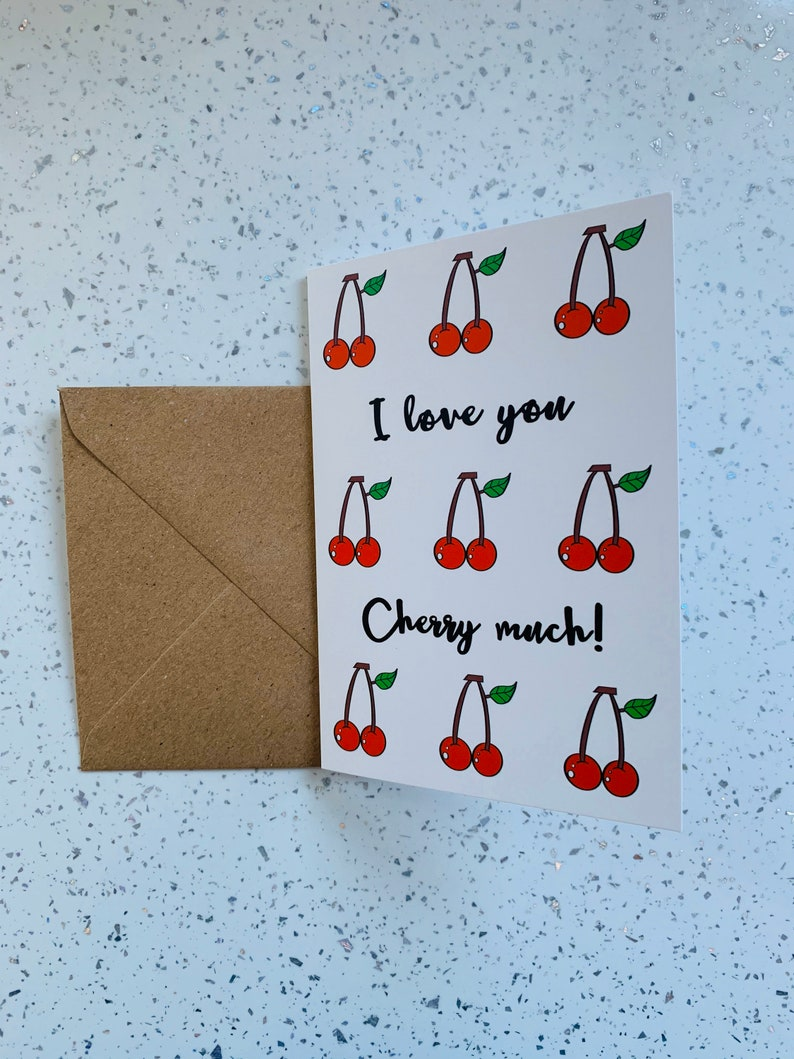 I love you cherry much card I love you very much card Valentines card Love card CherriesPun