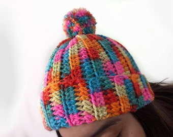 Bright and Colorful Ribbed Hat