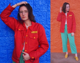 1970s New Holland Red Jacket with Yellow Detailing and Faux Fur Lining