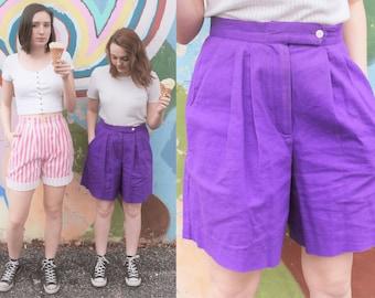 1980s Laurel Ann Purple Culotte Bermuda Shorts