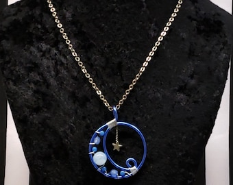 Gothic Witch Gypsy Blue Wire Full Crescent Moon Necklace