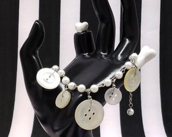 Vintage Antique Faux Pearl Shell Buttons Charm Bracelet