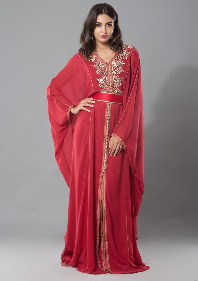 99dd0595570 Moroccan Red Gandoura traditional dress elegant moroccan