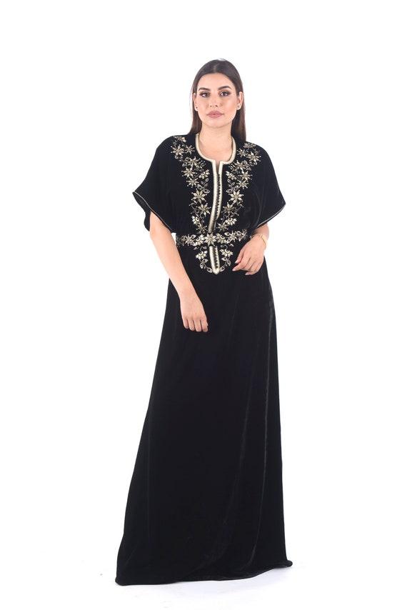 Moroccan Modern Kaftan Black Elegant Dress Embroidered Dress Wedding Guest Dress Evening Dress Women Long Dress