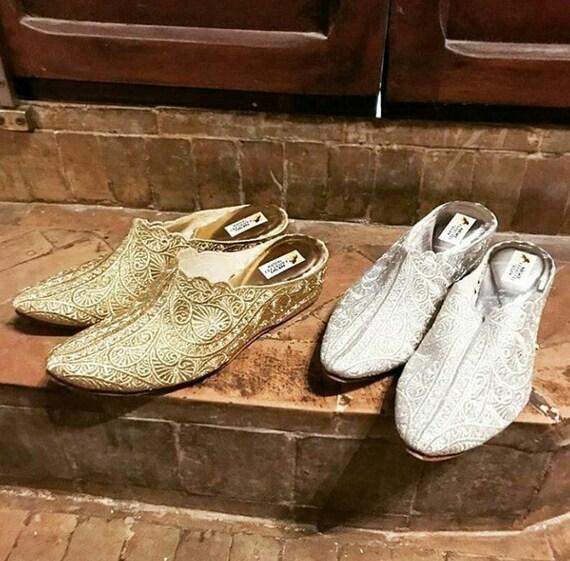 Marokkanische Weiches Leder Gold Hausschuhe Silberne Etsy