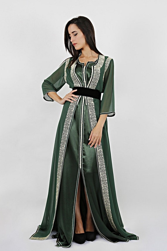 Moroccan Kaftan Evening Gownparty Dress Black Long Dress Etsy