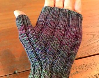 Hand knitted fingerless mittens
