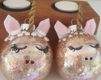 Rose Gold Unicorn Ornaments