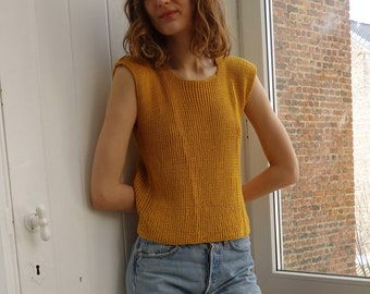 Mustard Yellow Knit Top Shoulderfree