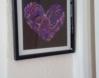 """Painting under glass """"heart"""""""