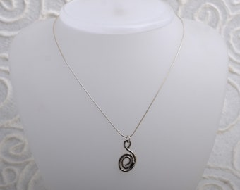 silver necklace with silver spiral pendant, necklace length 42.5 cm. ,pendant length 2.5 cm