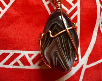 Botswana Agate pendant necklace wrapped in copper wire, healing grounding crystal necklaces, uk London seller, Botswana agate