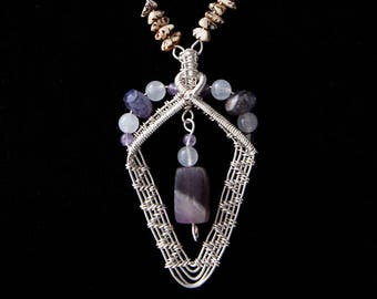 Amethyst necklace with Betel nut bead chain