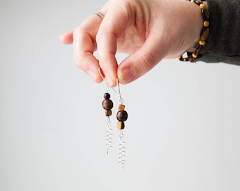 Brown Healing Tigers Eye wood bead earrings With Swirl for enhanced energy