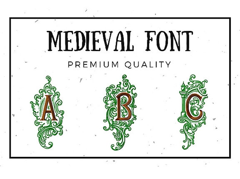 Embroidery 26 Capital letters in 2 sizes Medieval Alphabet